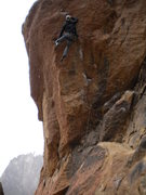 Rock Climbing Photo: Pulling the crux for a short person involves an al...