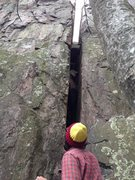 Rock Climbing Photo: Looking up at the route. Splitter.