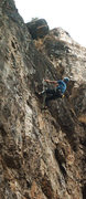 Rock Climbing Photo: Kip almost shamed off the crux - Photo by John Ros...