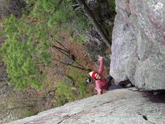 Rock Climbing Photo: Reinke hot dogging. This is before he realized his...