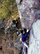 "Rock Climbing Photo: Jesse cleaning up Stew's lead of ""The Bone&qu..."