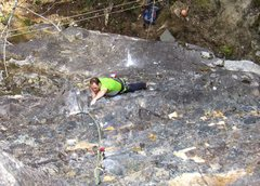 Rock Climbing Photo: Derek Pearson at the second hard section, just abo...