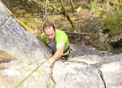 Rock Climbing Photo: Derek on the final jugs of The salient rock shape ...