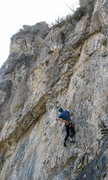 Rock Climbing Photo: Kip Henrie a couple of bolts before the hard bit.