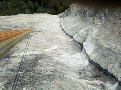 Rock Climbing Photo: Looking down the phenomenal groove of P-5