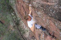Rock Climbing Photo: Chris on nearing the finish