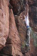 Rock Climbing Photo: Chris protecting a dicey next move