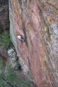 Rock Climbing Photo: chris making his way up MDC