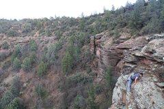 Rock Climbing Photo: good manteling form for a noob.