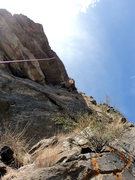 Rock Climbing Photo: Doug above the delicate lower crux.  The upper cru...