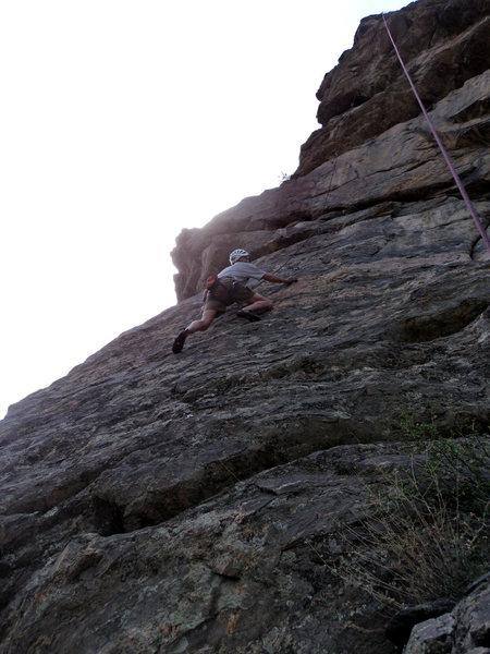 Rock Climbing Photo: Doug enjoys the very pleasant lower slab.  Note, o...