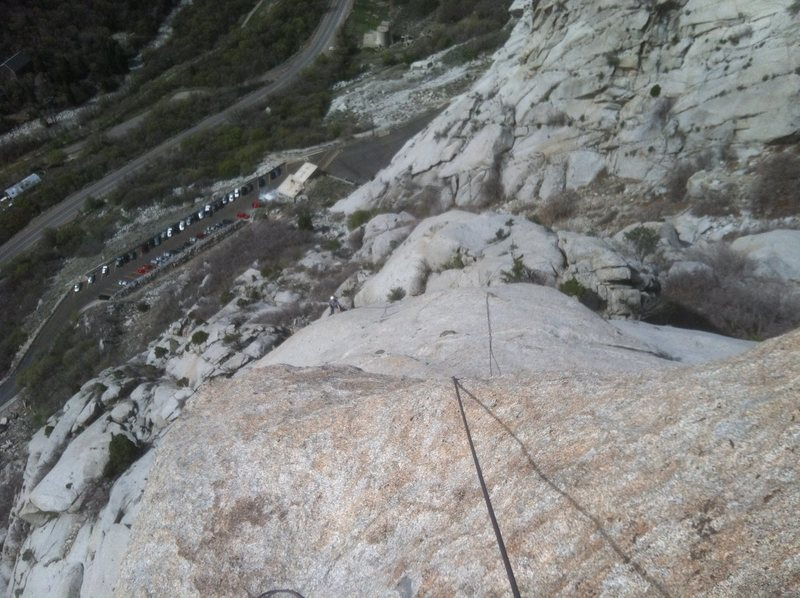 Rock Climbing Photo: The second pitch from the top.  Straight up from t...