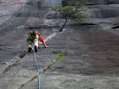 Rock Climbing Photo: Me starting up the Block Route. It sure seems stee...