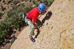 Rock Climbing Photo: Eddie leading on the slab at Texas Canyon