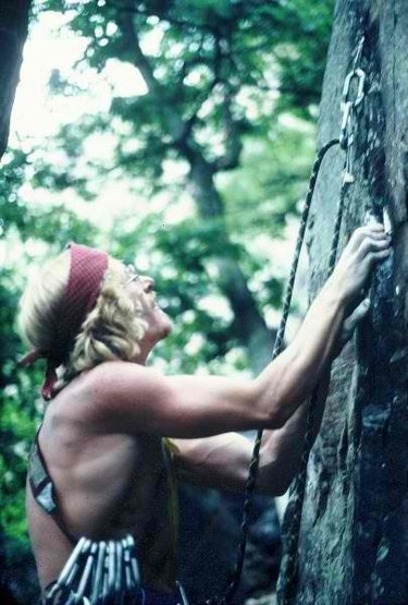 """From the Prunes Collection. Bechler on lead, 2nd ascent but first """"clean lead"""" with RP's."""