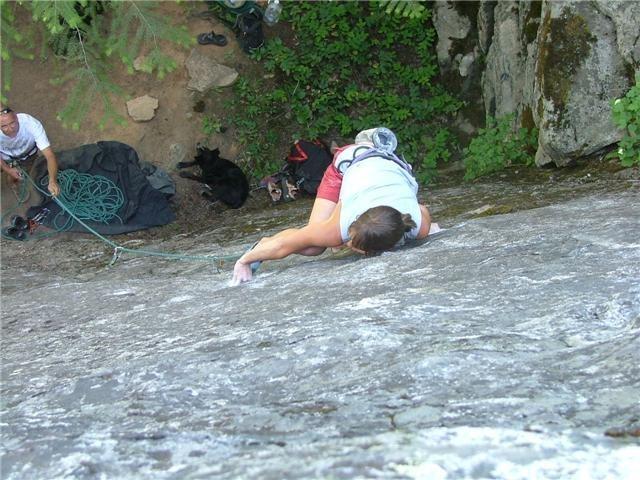 Rock Climbing Photo: Dora making the foot to hand match