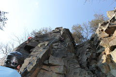 Rock Climbing Photo: Me taking of from the rest ledge onto the dihedral