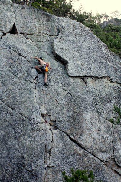 Rock Climbing Photo: Nick leading Discrepancy