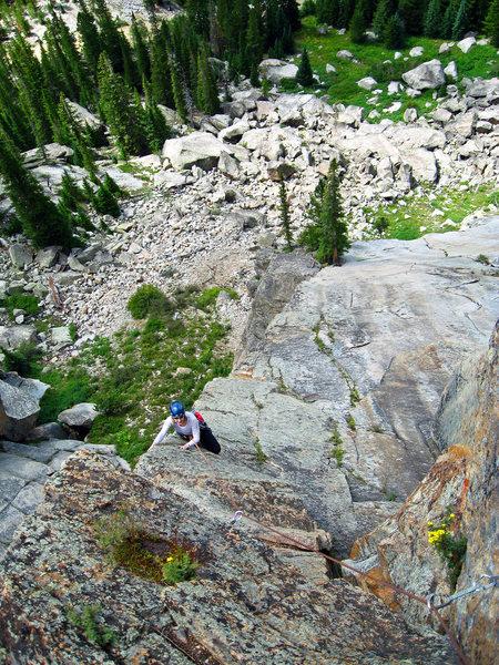 Rock Climbing Photo: Tracy Wilson finishing up the last pitch of Taliba...
