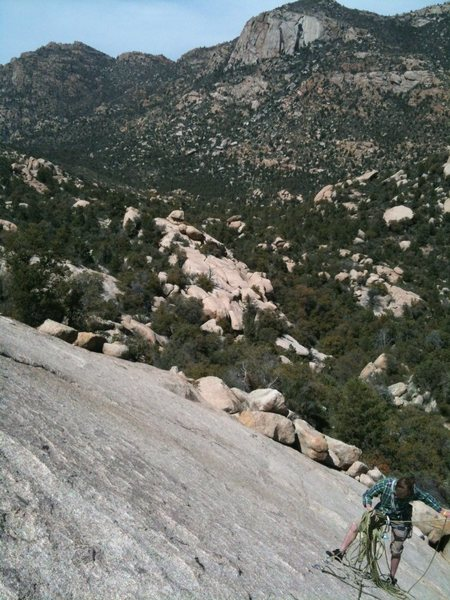 Looking down at second belay.