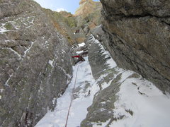 Rock Climbing Photo: Chris on the 2nd pitch, just below start of the cr...