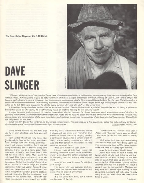 Dave Slinger article in Off Belay Aug 77 PAGE 1