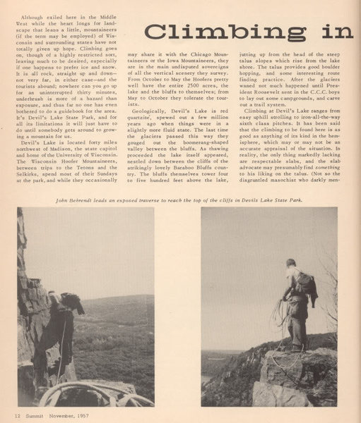 Rock Climbing Photo: From Summit mag Nov 57 PAGE1