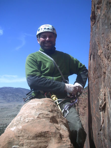 On top of the flake before face climbing pitch 3.