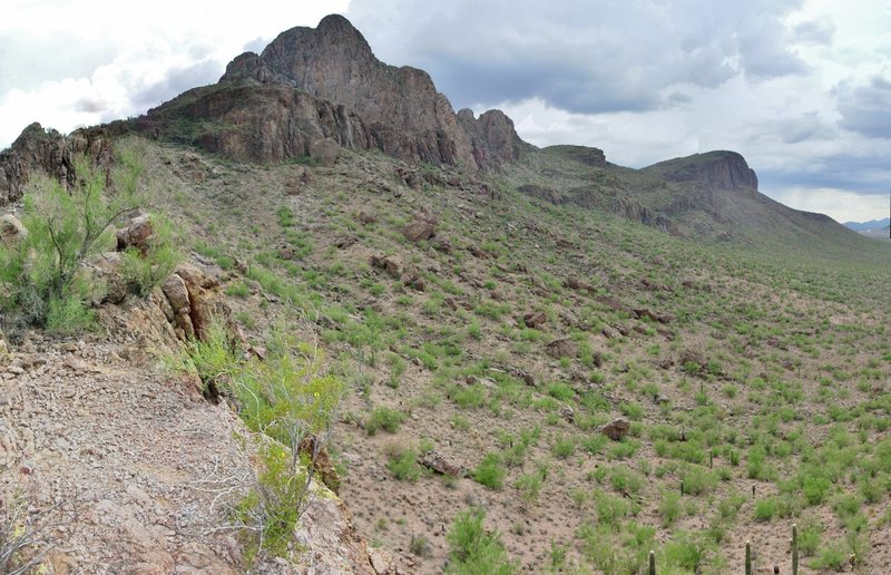 A view of The Sanctuary from the approach ridge. Safford Peak in the middle, Panther Peak on the right.