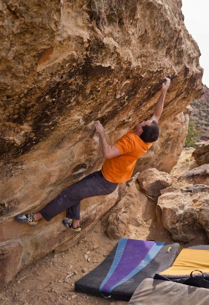 On the backside of the Plethora Boulders is this fun problem. Not sure how hard it is... maybe V4?