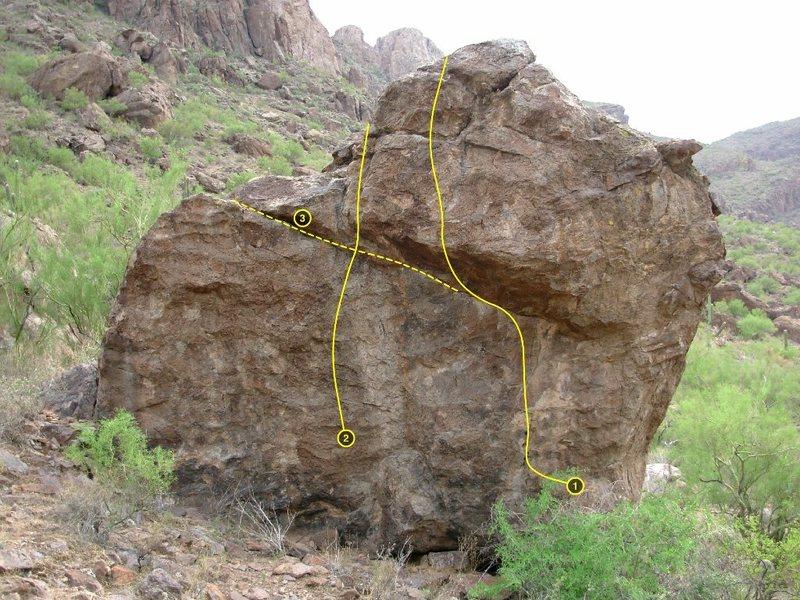 Sanctuary Boulder<br> <br> 1 Sanctuary<br> 2 warmup<br> 3 Bingmaster traverse