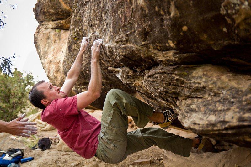 Rock Climbing Photo: Working the crimp rails.