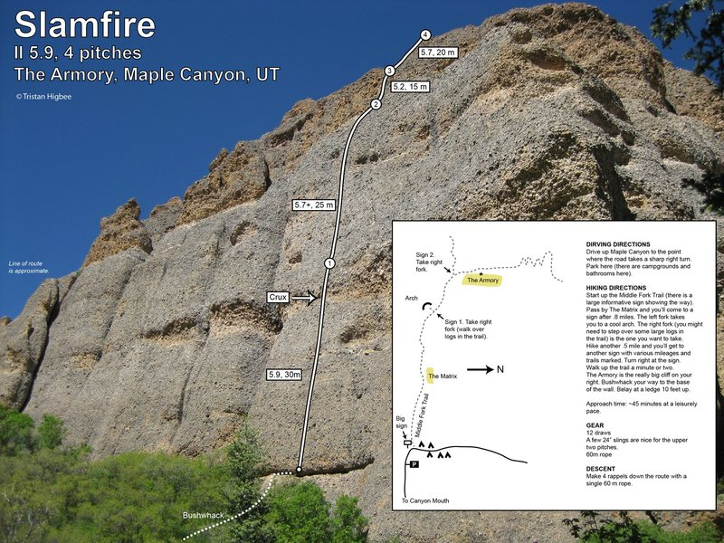 Slamfire topo, approach beta, and climb beta. You can get the printable PDF version here: http://bit.ly/slamfire<br> <br> It's been a couple years since I was on the route, but I made this right after I climbed it, so it should be pretty accurate.