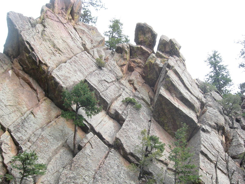 Rock Climbing Photo: The upper bits.  The route goes around the roof on...