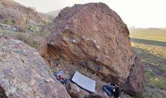 Rock Climbing Photo: Uncertainty Principle (V4) follows the arete/lip.