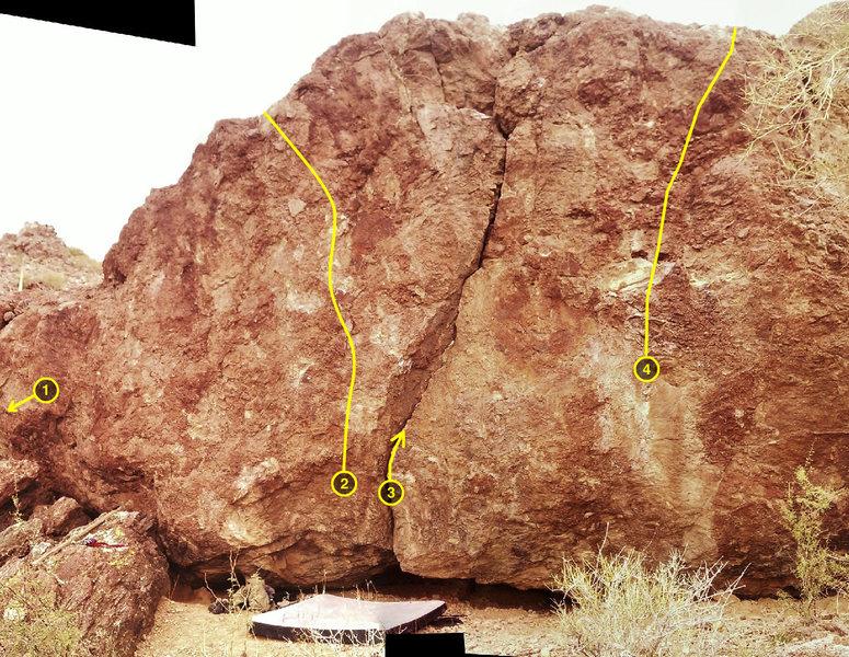 Rock Climbing Photo: BMMFP Boulder  1  Deleterious V3 2  BMMFP V2 3  Kn...