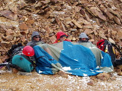 Rock Climbing Photo: Jack, Ron, Dave, waiting out a storm, on Wilson Pe...
