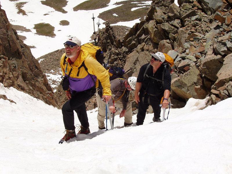 Rock Climbing Photo: Snake (Dogleg) Couloir, Mount Sneffels, Jack, Dave...