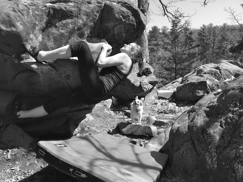 """Rock Climbing Photo: On the """"My Head Kissed the Ground"""" bould..."""