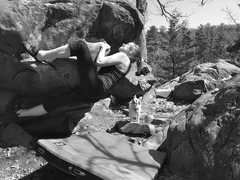 "Rock Climbing Photo: On the ""My Head Kissed the Ground"" bould..."