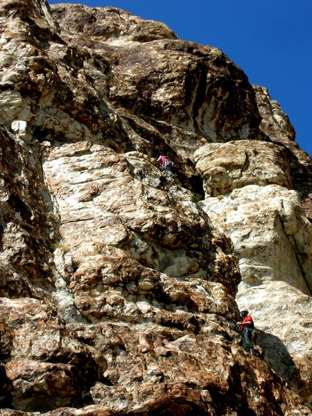 Climbers on the far right side of Severity Buttress (Fata Morgana)