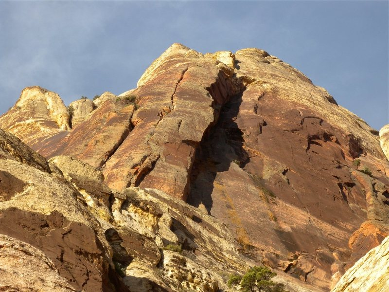 Rock Climbing Photo: View from the approach. The shaded, right-facing c...