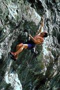 Rock Climbing Photo: Joe Terravecchia on Ginseng. P Cole photo.1998