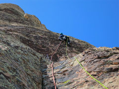 Rock Climbing Photo: Chris on the patina and seam of pitch four. While ...