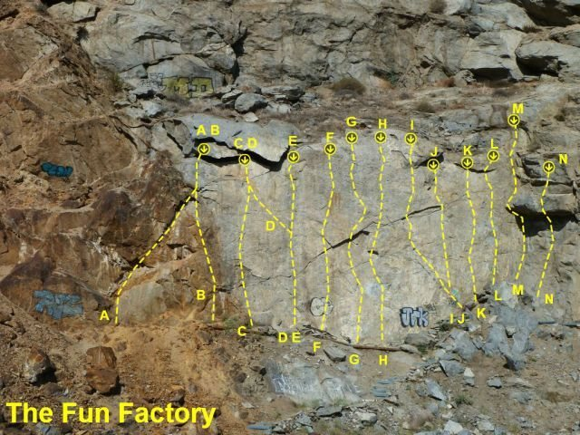 The Fun Factory, Riverside Quarry<br> <br> A. Fun Factory (5.7)<br> B. Planned Obsolescence (5.9)<br> C. Made to Order (5.8)<br> D. Structural Flaw (5.9)<br> E. Mass Production (5.9)<br> F. Industrial Bliss (5.10a)<br> G. Worker Bee (5.10a)<br> H. Manufacturer's Defect (5.10c)  <br> I. Assembly Line (5.10d)<br> J. Quality Control (5.10c)<br> K. Nuts and Bolts (5.10c)<br> L. Six Sigma Certified (5.10b)<br> M. Some Assembly Required (5.10c)<br> N. Union Man (5.11a)