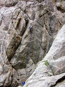 Rock Climbing Photo: Almost to the chains on Mile High Comic Crack.