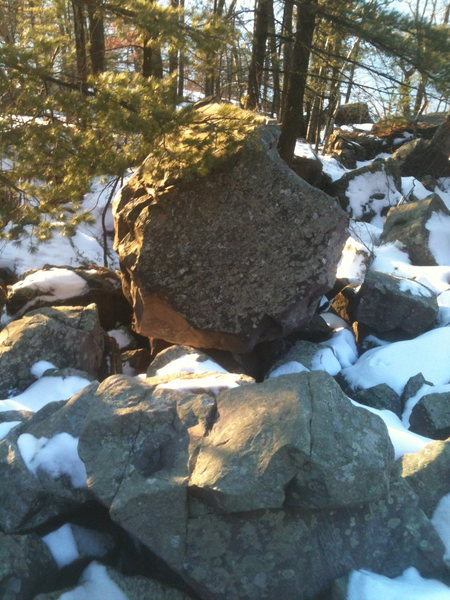 A smaller boulder just South of the Twins.  Should hold a couple of nice lines.
