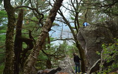 Rock Climbing Photo: Chalking the problem up before its FA.  Starts jus...