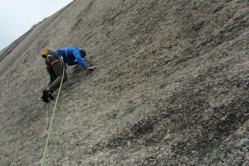 Jon Baldy low down on goose bumps before heading up in to the 5.10