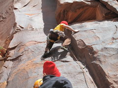 Rock Climbing Photo: moving past the crux.